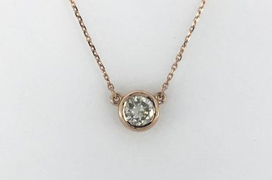 14k Rose Gold .89ct Bezel Set Fixed Necklace 18""