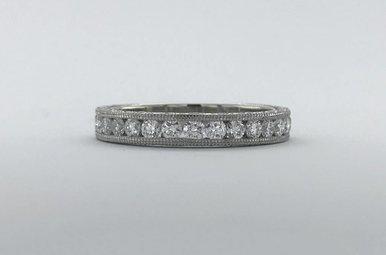 Platinum Tacori 1ctw Diamond Channel Set Milgrain Stackable Wedding Band