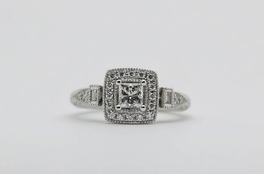 14kw 3/8ct-Ctr 1/2ctw Engraved Halo Diamond Engagement Ring (Princess Cut Center with Rounds & Baguettes)