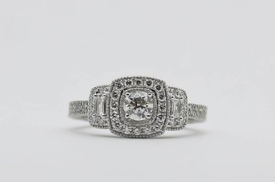14kw 1/3ct-Ctr 3/4ctw Round Brilliant & Baguette Diamond Halo Engagement Ring