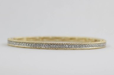 14ky .84ctw Round Brilliant Diamond Ladies Bangle Bracelet