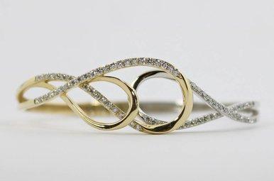 14ky/w 1.22ctw Round Brilliant Diamond Hinged Ladies Bangle Bracelet