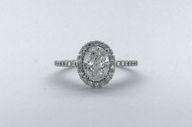 14k White Gold 1.50ctw (1.01ct E/SI2 Oval) Halo Engagement Ring (Size 6)