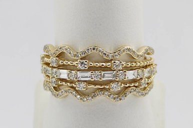 14ky .66ctw Set of 5 Stackable Ladies Diamond Bands