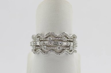 14k White Gold 1/2ctw Diamond Set of 4 Stackable Ladies Diamond Bands