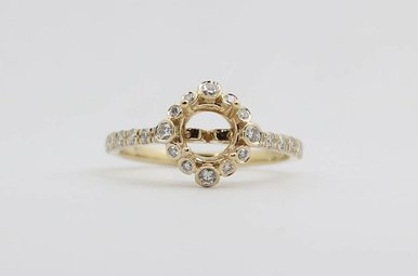 14ky 3/8ctw Round Brilliant Diamond Halo Semi Mount Engagement Ring