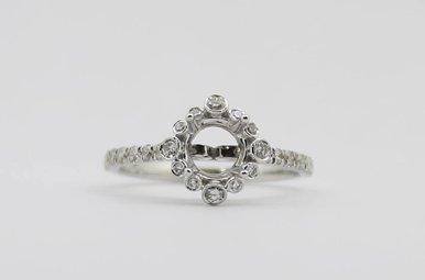 14kw 3/8ctw Round Brilliant Diamond Halo Semi Mount Engagement Ring