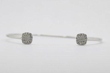 14kw 1/3ctw Round Brilliant Diamond Ladies Open Bangle Bracelet