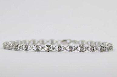 14kw 1/4ctw Round Brilliant Diamond Ladies Bracelet