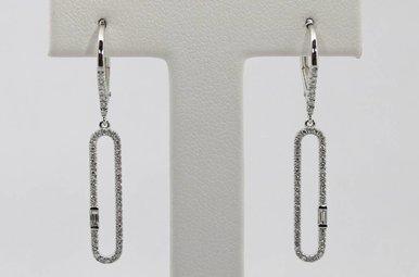 14kw .32ctw Round & Baguette Diamond Dangle Earrings