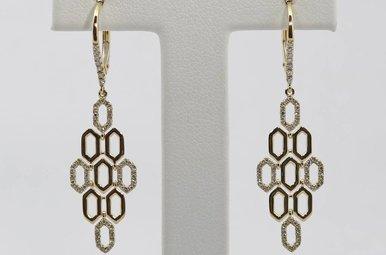 14ky .30ctw Ladies Diamond Honeycomb Dangle Earrings
