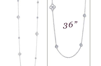 "Lafonn Necklace 36"" Simulated Diamonds, Sterling Silver"
