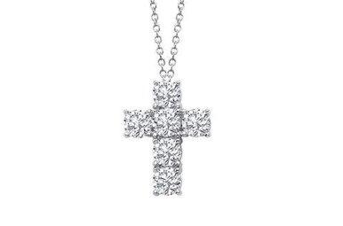 "Lafonn Cross Pendant 18"" Simulated Diamonds, Sterling Silver"