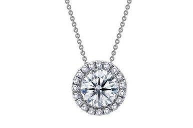 "Lafonn Halo Necklace 18"" Simulated Diamonds, Sterling Silver"