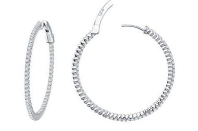 Lafonn Inside Outside Hoop Earrings Simulated Diamonds, Sterling Silver