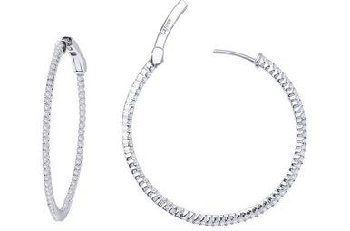 Lafonn Inside Outside Hoop Earrings Simulated Diamonds 1.36ctw, Sterling Silver
