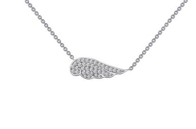 "Lafonn Angel Wing Necklace 18"" Simulated Diamonds, Sterling Silver"