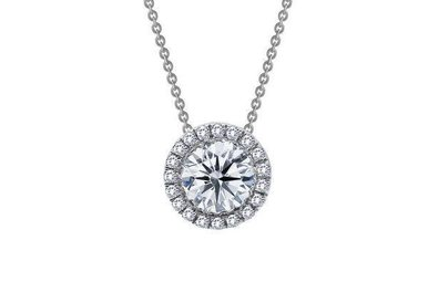 Lafonn Halo Pendant Simulated Diamonds .63ct, Sterling Silver