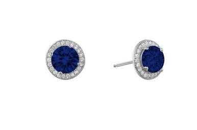 Lafonn 2.50cttw 46 Stones Sapphire Halo Milgrain Stud Earrings