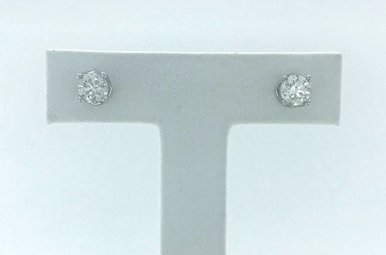 14k White Gold 1ctw Diamond Fancy Stud Earrings