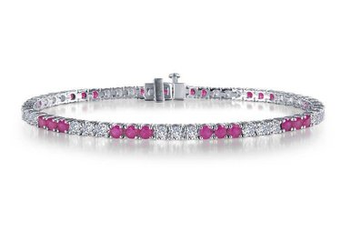 Lafonn Ladies Bracelet Simulated Diamonds & Lab Grown Rubies, Sterling Silver 7.25""