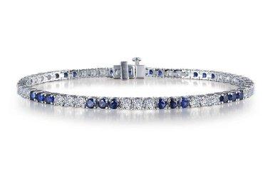 "Lafonn Ladies Bracelet, Simulated Diamonds & Lab Grown Blue Sapphires, Sterling Silver 7.25"""