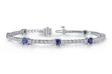 "Lafonn Ladies Bracelet Simulated Diamonds & Lab Grown Blue Sapphires, Sterling Silver 7.25"""