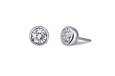 Lafonn Bezel Stud Earrings Simulated Diamonds .92ctw, Sterling Silver