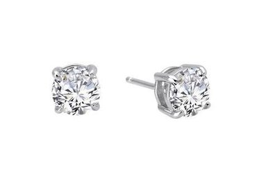 Lafonn Round Stud Earrings Simulated Diamonds 1ctw, Sterling Silver