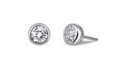 Lafonn Bezel Stud Earrings Simulated Diamonds .50ctw, Sterling Silver