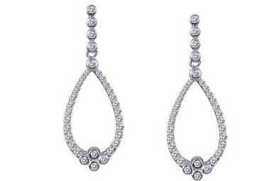 Lafonn Dangle Earrings Simulated Diamonds, Sterling Silver