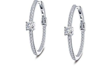 Lafonn Hoop Earrings Simulated Diamonds, Sterling Silver