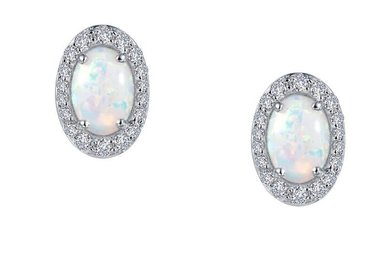 Lafonn Halo Stud Earrings, Simulated Opals & Diamonds 1.94ctw, Sterling Silver