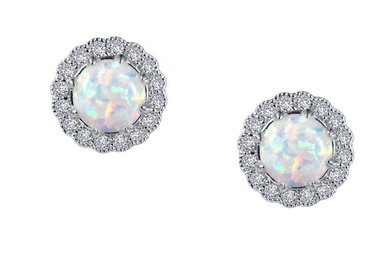 Lafonn Halo Stud Earrings Simulated Opals & Diamonds, Sterling Silver