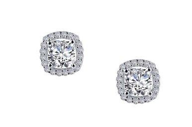 Lafonn Halo Stud Earrings Simulated Diamonds 1.52ctw, Sterling Silver