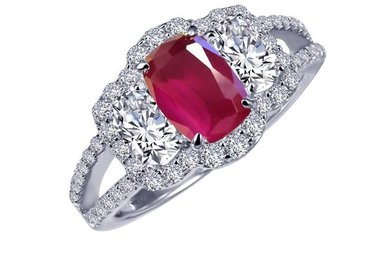 Lafonn Ring Simulated Diamonds & Lab Grown Ruby, Sterling Silver - Size 7