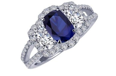 Lafonn Ring Lab Grown Blue Sapphire & Simulated Diamonds, Sterling Silver - Size 7