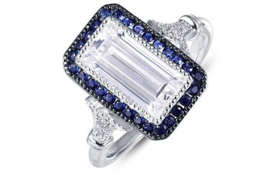 Lafonn Halo Ring Simulated Diamonds & Lab Grown Sapphires, Sterling Silver - Size 7