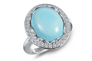 Lafonn Halo Ring, Simulated Diamonds & Turquoise 6.98ctw, Sterling Silver