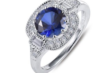 Lafonn Ring Lab Grown Sapphire & Simulated Diamonds, Sterling Silver - Size 7