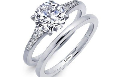 Lafonn Wedding Set Simulated Diamonds 2.21ctw, Sterling Silver - Size 8