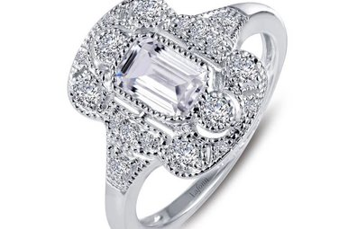 Lafonn Ring Simulated Diamonds .99ctw, Sterling Silver - Size 7