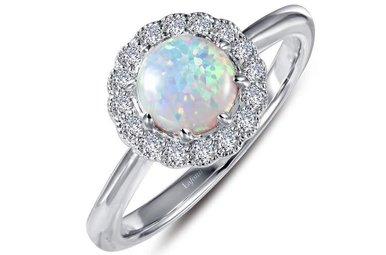 Lafonn Halo Ring Simulated Diamonds & Opal, Sterling Silver - Size 7