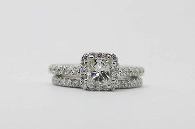 14kw 1.01ct-Ctr H/VS1-GIA 1.82ctw Halo Wedding Set with Princess Cut Center Diamonds & Round Brilliants