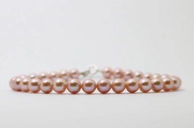 Sterling Silver 6-6.5mm Pink Freshwater Pearl Strand Bracelet