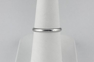14k White Gold 2mm Satin Stackable Wedding Band (Size 7)