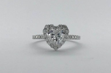 14K White Gold 1.41CTW (1.02ct G/I1 Heart) HEART HALO ENGAGEMENT RING