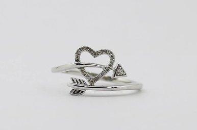 Sterling Silver Diamond Ladies Heart & Arrow Ring