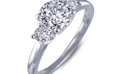 Lafonn 1.06ctw 3 Stone Round Engagement Ring Size 6