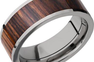 Lashbrook Titanium Thuya Burl Wood Hammered/Polished Men's Wedding Band (Size 11)